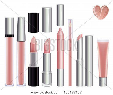 Make-up set for lips. Nude color.
