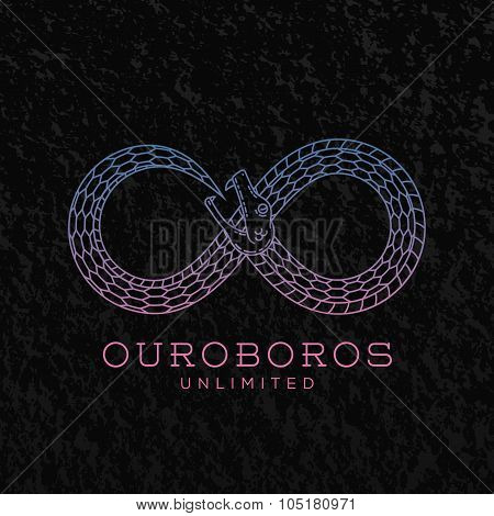 Abstract Vector Infinite Ouroboros Snake Symbol, Sign or a Logo Template in Line Style. On Black Bac