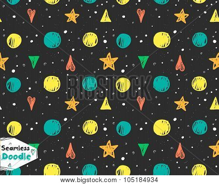 Hand Drawn Stars, Triangles And Hearts Doodle Seamless Pattern.