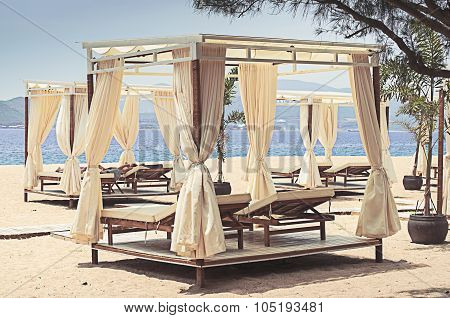 Comfotable Chaise With Canopy On Vip Beach