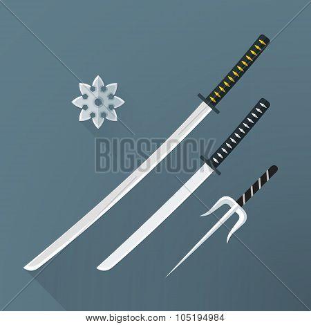 Vector Flat Samurai Weapon Set Illustration Icon.