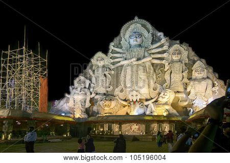 World's Biggest Durga Idol At Puja Festival, 70 Feet Tall, Made Of Clay.