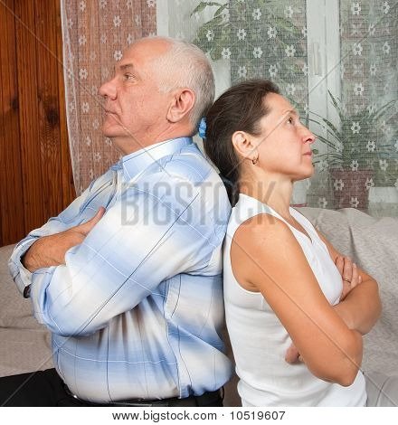 Elderly Couple After Quarrel