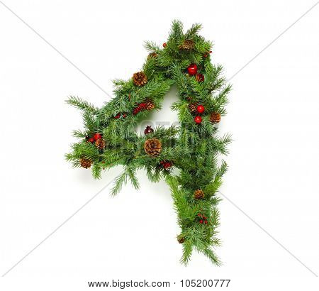 Christmas letters alphabet or font made of pine branches - Numbers
