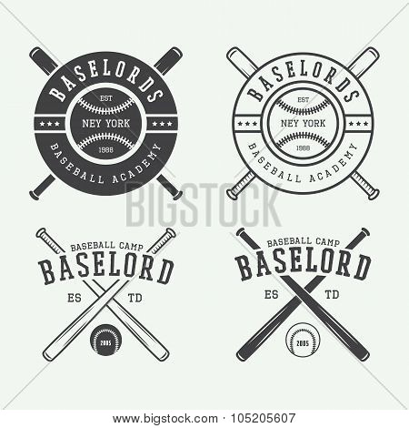 Vintage Baseball Logos, Emblems, Badges And Design Elements.