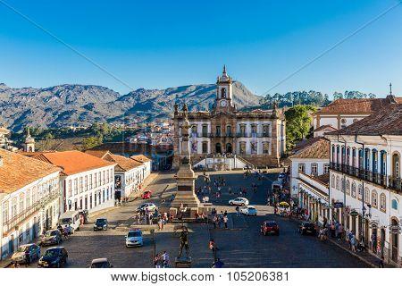 OURO PRETO, BRAZIL - CIRCA OCTOBER 2015: Tiradentes square in Ouro Preto, Minas Gerais, Brazil