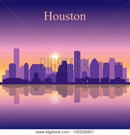 Houston City Skyline Silhouette Background