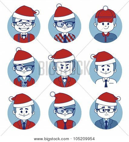 Set of Christmas business characters