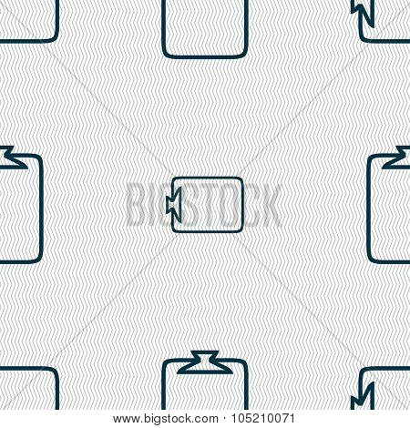 File Annex Icon. Paper Clip Symbol. Attach Sign. Seamless Abstract Background With Geometric Shapes.