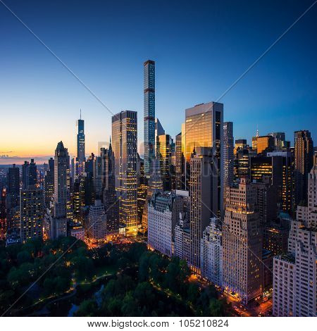 New York city - amazing sunrise over central park and upper east side manhattan - Birds Eye / aerial view poster