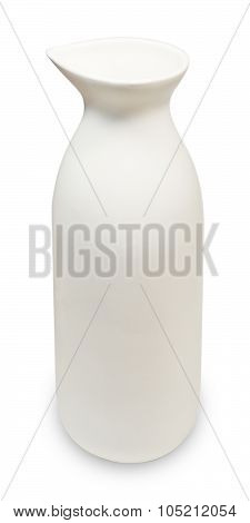 White Japanese Traditional Sake Bottle On White Background