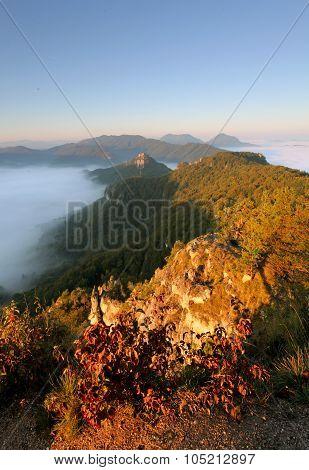 Sunrine Autumn Landscape In Slovakia Rock, Sulov