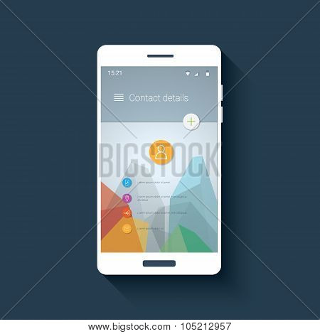 Material design user interface. Contacts application screen. Low poly vector background. Polygonal t