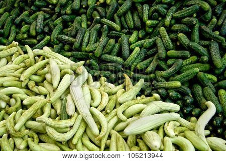 Fresh Organic Cucumber/ Gherkins At A Street Market In Istanbul, Turkey.