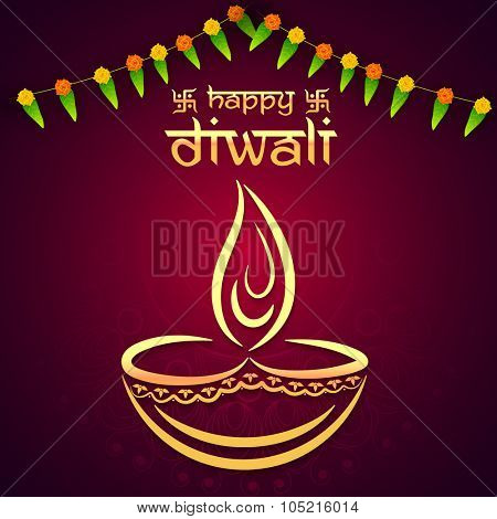 Indian Festival of Lights, Happy Diwali celebration with creative lit lamp on glossy floral background.