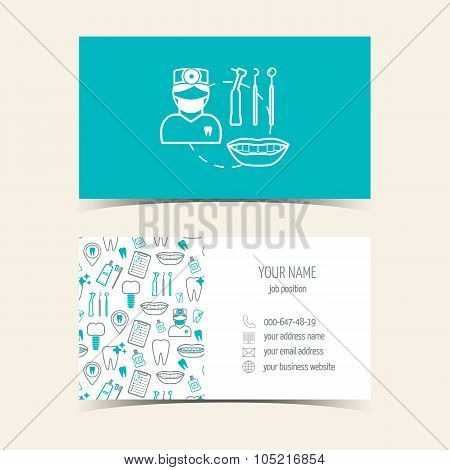 Business cards for dental clinic. Promotional products. Flat design. Vector illustration poster