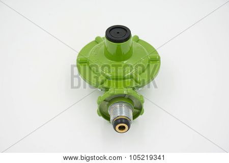 Gas Valve Regulator Low Pressure Isolated On White Background