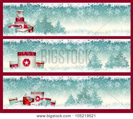 three christmas banners with gift boxes in witer landscape, illustration