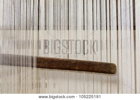 Traditional hand loom in a rug factory
