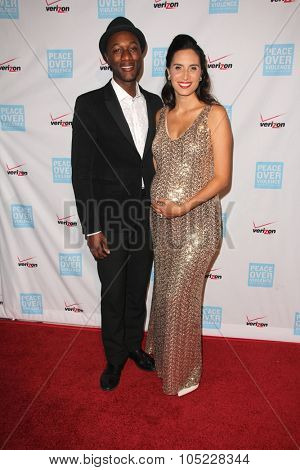 LOS ANGELES - OCT 16:  Aloe Blacc, Maya Jupiter at the 44th Annual Peace Over Violence Humanitarian Awards at the Dorothy Chandler Pavilion on October 16, 2015 in Los Angeles, CA