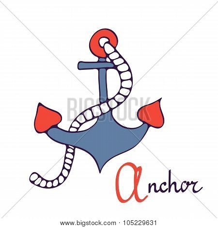 Nautical anchor. A is for Anchor.