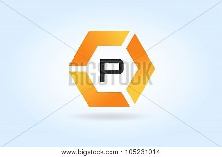 Abstract P character vector logo icon template