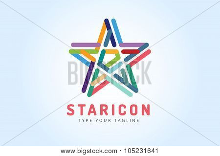 Star vector logo icon. Leader boss symbol