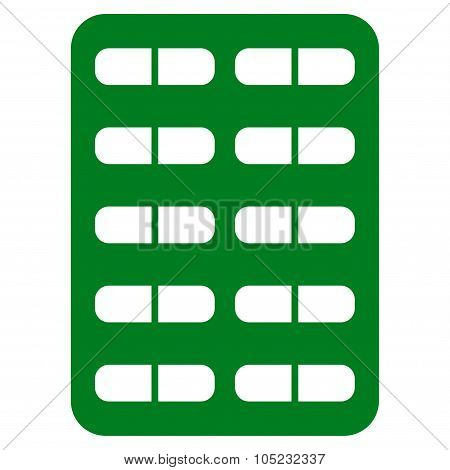 Pill Blister vector icon. Style is flat symbol green color rounded angles white background. poster