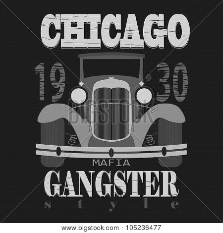 Chicagol t-shirt graphic design. Gangster style  typography emblem - vector illustration poster