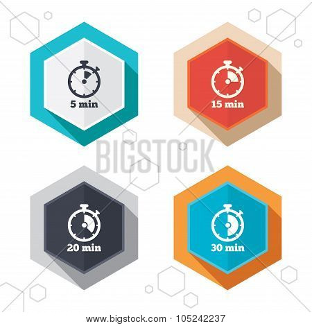 Hexagon buttons. Timer icons. 5, 15, 20 and 30 minutes stopwatch symbols. Labels with shadow. Vector poster