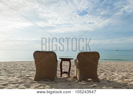 Chairs And Tables On The Beach