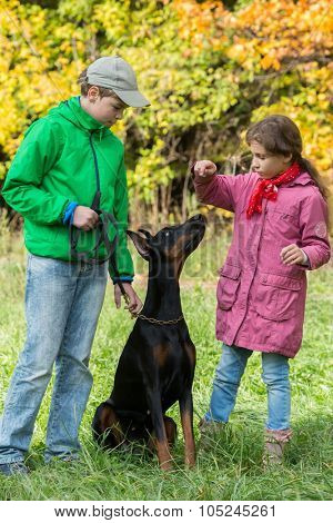 Brother and his sister are standing near the dobermann in the park.