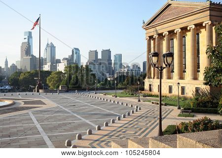 The area and the building of the Art Museum in Philadelphia