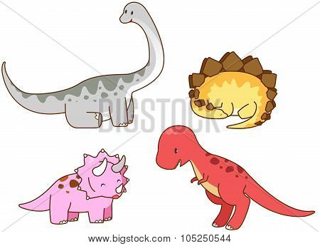 Cartoon Prehistoric Dinosaur Such As Triceratops, Tyrannosaurus (t-rex), Stegosaurus, Brachiosaurus,