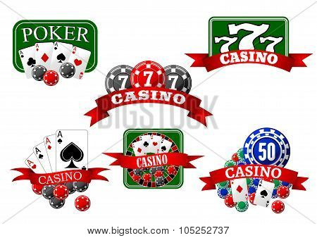 Casino, jackpot and poker gambling icons