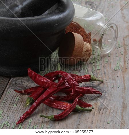 Stone Mortar With Chili Pepper