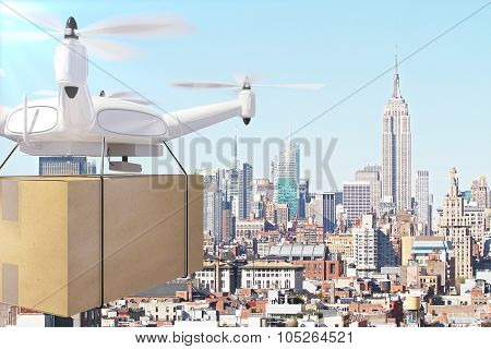 Drone Deliveries Box Through The City