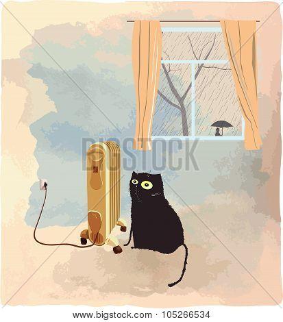 Black cat basking near the heater vector illustration
