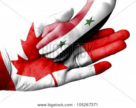 Adult Man Holding A Baby Hand With Canada And Syria Flags Overlaid. Isolated On White
