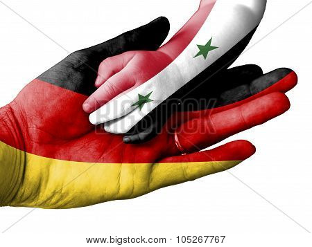 Adult Man Holding A Baby Hand With Germany And Syria Flags Overlaid. Isolated On White