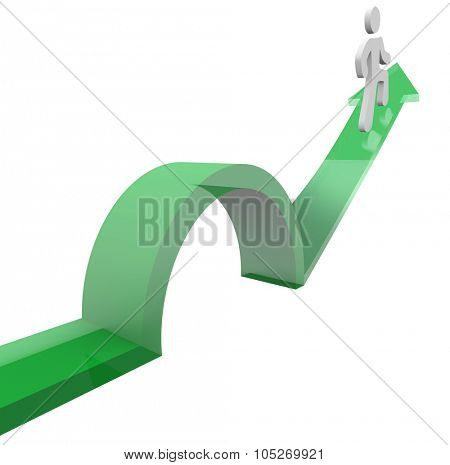 Man or person on an arrow jumping over a problem or trouble to avoid something