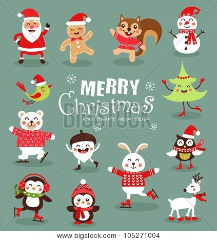 Funny Christmas Characters set. Cute animals. Vector illustration.