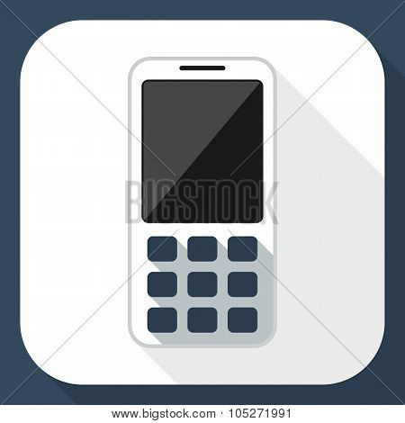 Mobile Phone Flat Icon With Long Shadow