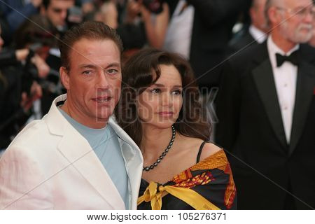 CANNES, FRANCE - MAY 16: Jean Claude van Damme with his wife Gladys Portugues attend the 'Un Conte de Noel' premiere  the 61st Cannes Film Festival on May 16, 2008 in Cannes, France.