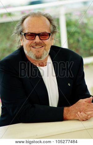 CANNES, FRANCE - MAY 22:  Jack Nicholson shouts as he poses for photographers during the photocall for  film 'About Schmidt' 22 May 2002 during the 55th Cannes film festival, France