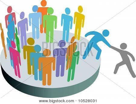 Helfer hilft Person Join Menschen Mitglieder Unternehmensgruppe