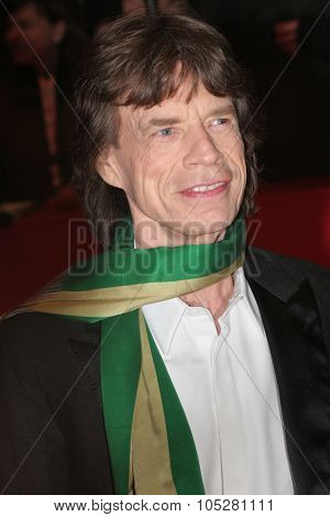 BERLIN - FEBRUARY 7: Rolling Stones singer Mick Jagger attends the 'Shine A Light' Premiere as part of the 58th Berlinale Film Festival at the Berlinale Palast on February 7, 2008 in Berlin, Germany