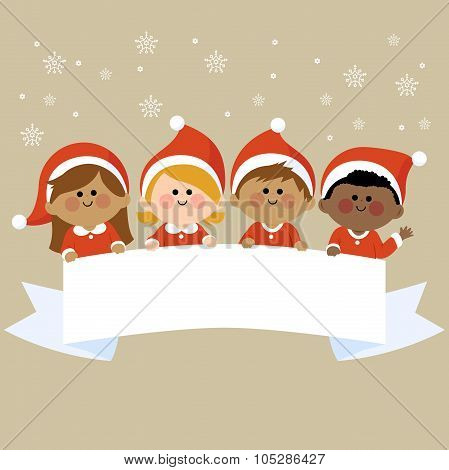 Kids dressed in Christmas costumes holding horizontal blank banner