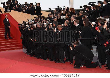 CANNES, FRANCE - MAY 18: Photographers attend the 'La Conquete' premiere during 64th Annual Cannes Film Festival at Palais des Festivals on May 18, 2011 in Cannes, France
