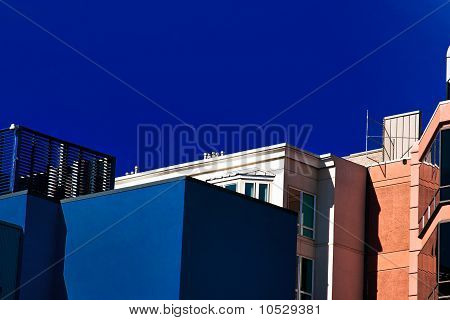 Seattle in blue and white buildings
